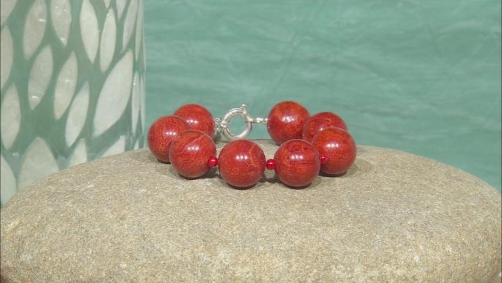 Red Coral Silver Bracelet