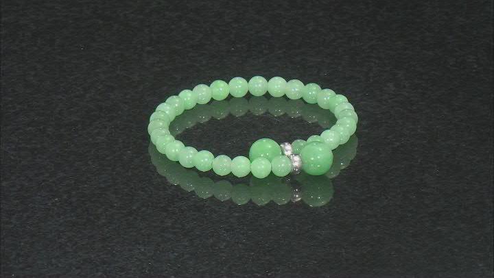 Green Jadeite Rhodium Over Silver Bracelet