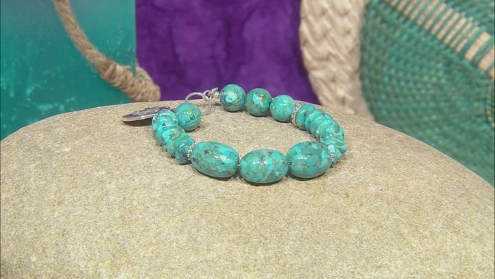 Turquoise Rhodium Over Silver Bracelet