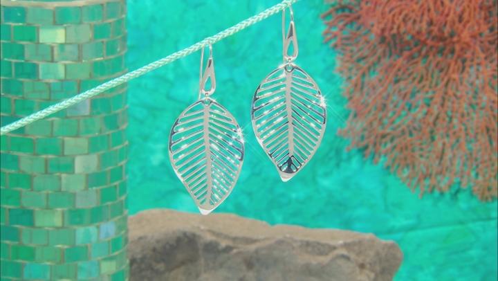 Rhodium Over Sterling Silver Leaf Earrings