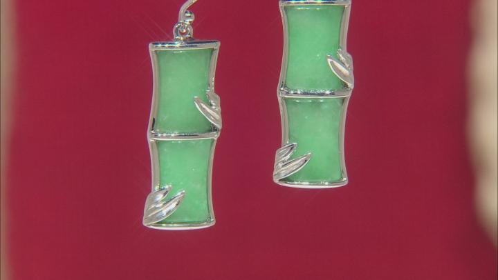 Green Jadeite Bamboo Inspired Rhodium Over Sterling Silver Earrings