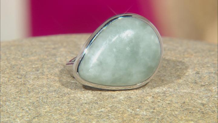 Green Jadeite Solitaire Rhodium Over Silver Ring