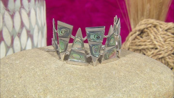 Abalone Shell Rhodium Over Sterling Silver Bracelet