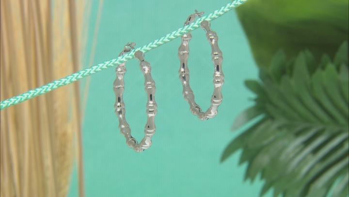 Bamboo Inspired Rhodium Over Sterling Silver Hoop Earrings