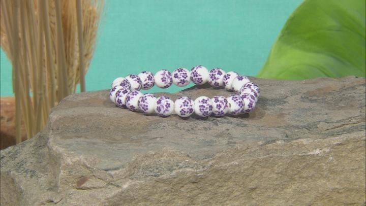 Ceramic Painted Bead Stretch Bracelet