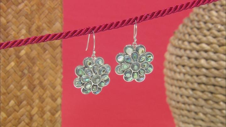 Abalone Shell Rhodium Over Sterling Silver Flower Earrings