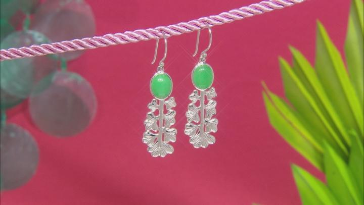 Jadeite Rhodium Over Silver Leaf Earrings
