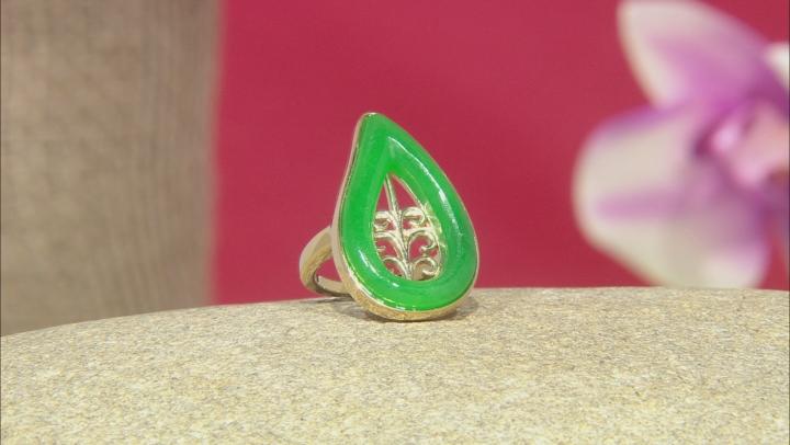 Jadeite Open Filigree Design 18k Gold Over Sterling Silver Leaf Ring