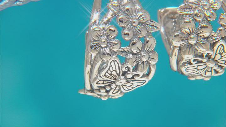 Sterling Silver Flower & Butterfly Hoop Earrings