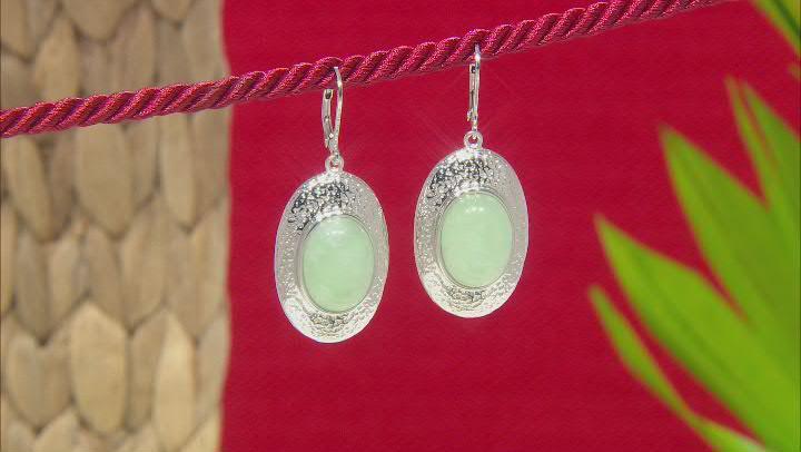 Jadeite Rhodium Over Sterling Silver Textured Earrings