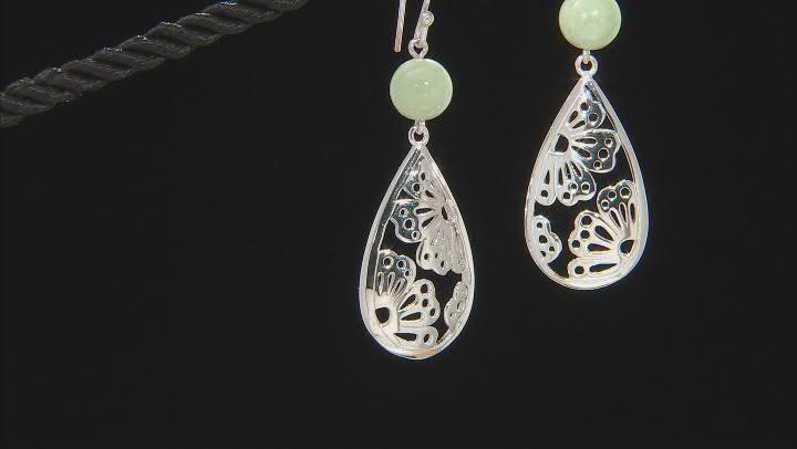Green Jadeite Rhodium Over Sterling Silver Flower Silhouette Earrings