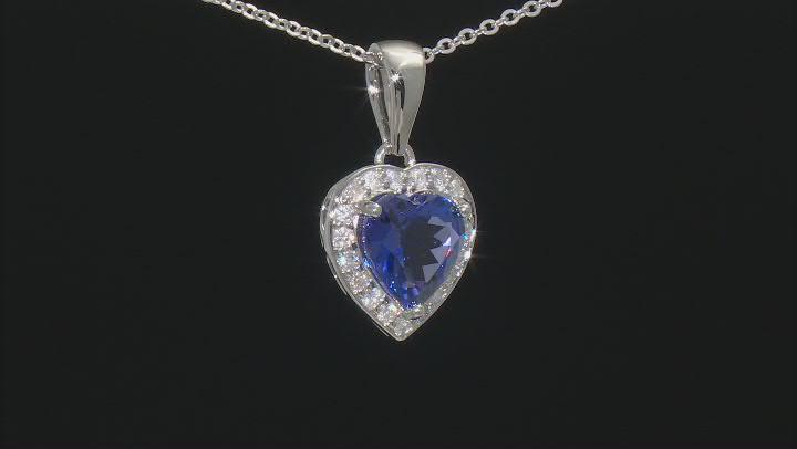 Blue Tanzanite Rhodium Over Platinum Pendant With Chain 2.42ctw