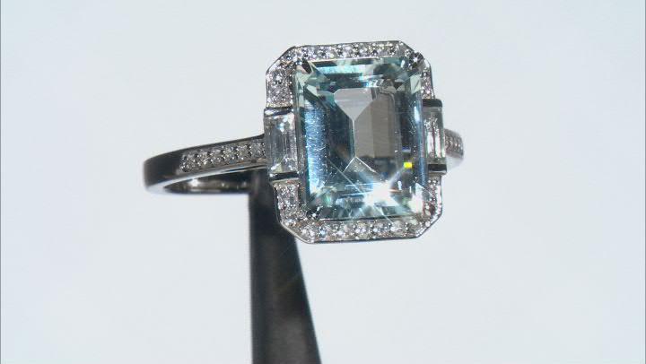 Blue Aquamarine Platinum Ring 3.68ctw