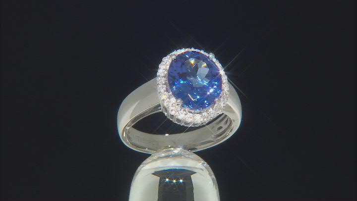 Blue Tanzanite Platinum Ring 3.75ctw