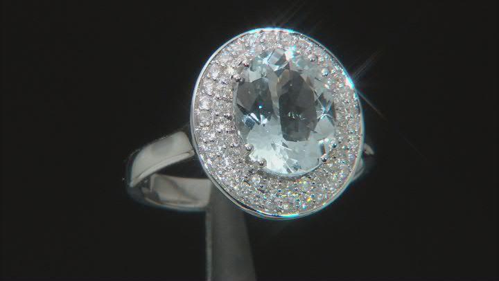 Blue Aquamarine With Round White Diamond Accent Platinum Ring 2.27ctw.