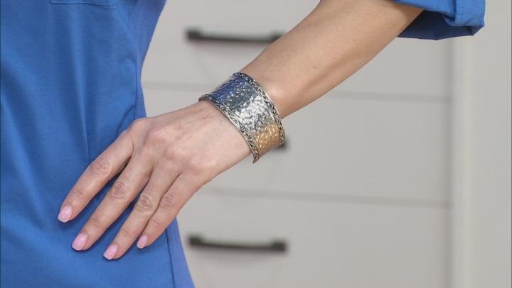 Rhodium Over Brass Hammered Cuff Bracelet