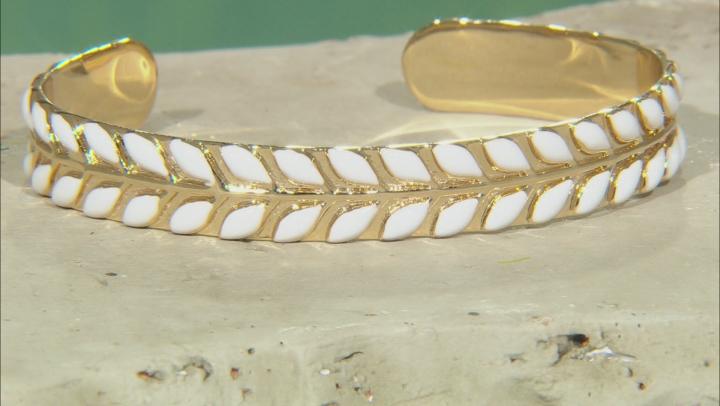 White Enamel 14K Gold Over Brass Cuff Bracelet