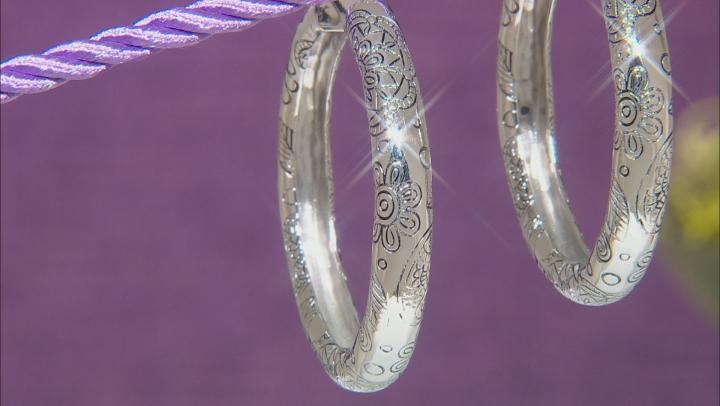 Rhodium Over Brass Floral Hoop Earrings
