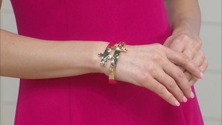 Gold Tone Cross Bracelet