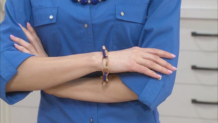 Blue Enamel Gold Tone Nautical Bracelet