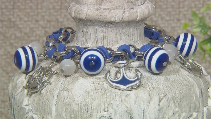 Blue And White Acrylic Bead Silver Tone Nautical Charm Bracelet