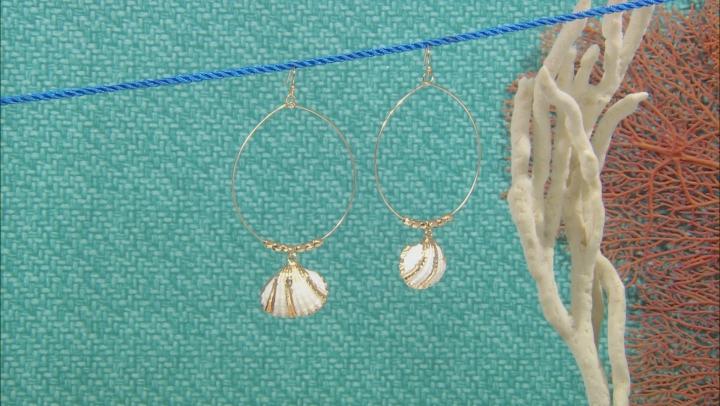 Shell Simulant Gold Tone Seashell Hoop Earrings