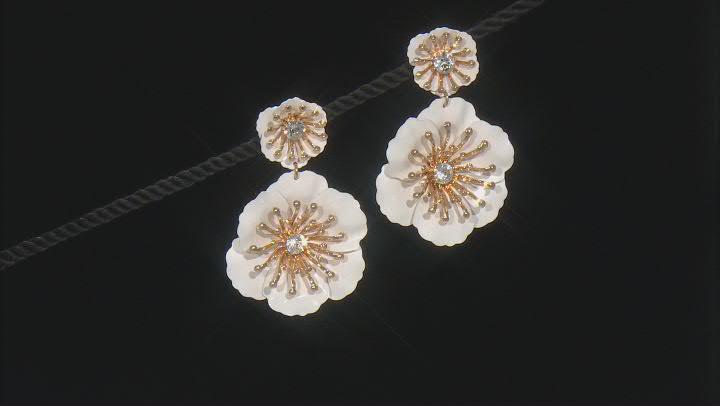 White Acrylic Gold Tone Flower Drop Earrings