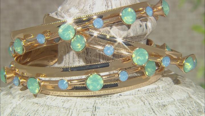 Mint Green Crystal Gold Tone Bracelet Set