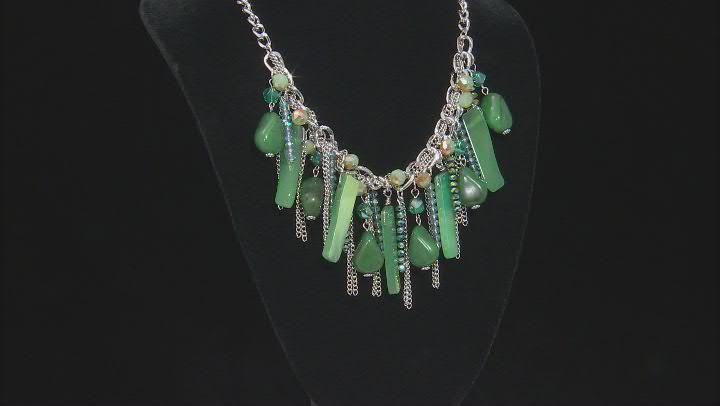 Green Bead Silver Tone Necklace