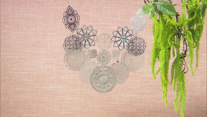 Silver Tone Floral Lace Design Bib Necklace