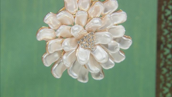 White Freshwater Pearl Simulant Gold Tone Starburst Necklace