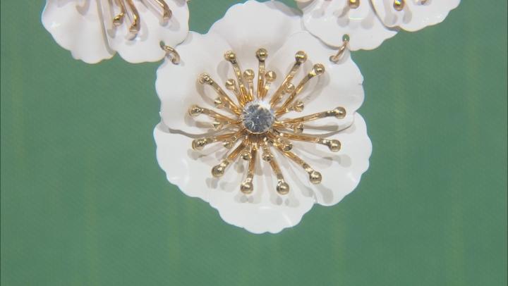 White Acrylic Gold Tone Flower Necklace