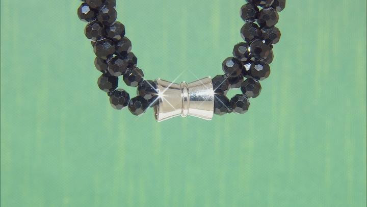 Black Bead Silver Tone Triple Strand Necklace