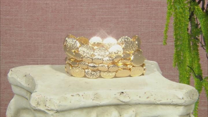 Gold Tone Hammered Stretch Bracelet Set Of Five