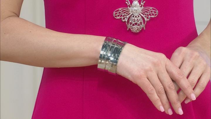 Silver Tone Serenity Prayer Cuff Bracelet Set of Three