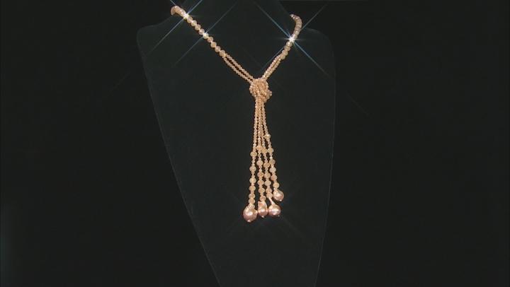 Peach Color Bead & Peach Color Baroque Pearl Simulant Necklace