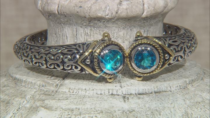 Blue Crystal Two Tone Hinged Bangle Bracelet