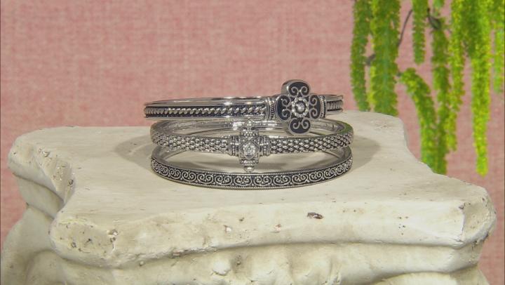 White Crystal Oxidized Silver Tone Quatrefoil Bracelet Set Of Three