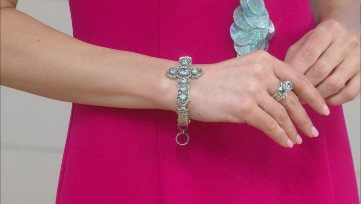 Blue Topaz Rhodium Over Brass Cross Bracelet 2.92ctw