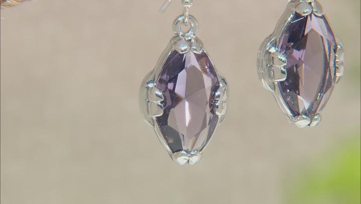 Purple Crystal Silver Tone Dangle Earrings