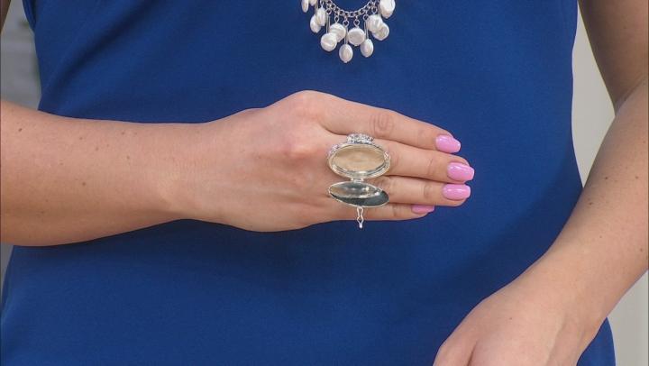 White Mother Of Pearl Rhodium Over Brass Prayer Box Ring