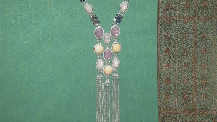 Lavender, Cream, And White Acrylic Color Stone Silver Tone Statement Necklace