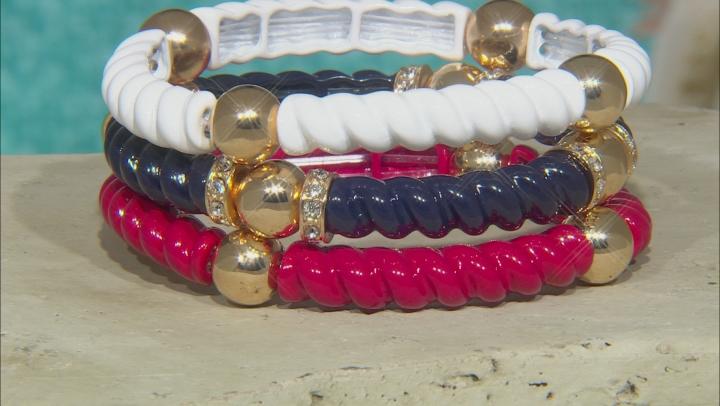 White Crystal Red, White, And Blue Epoxy Gold Tone Stretch Bracelet Set Of Three