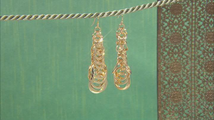 Gold Tone Link Dangle Earrings