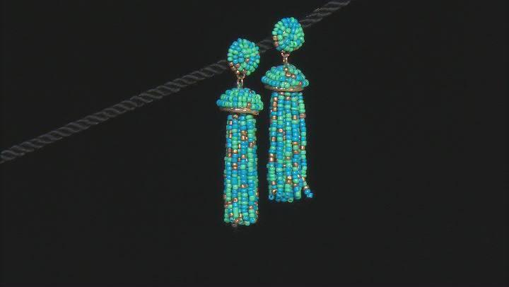 Blue, Green, and Gold Beaded Dangle Tassel Gold Tone Earrings