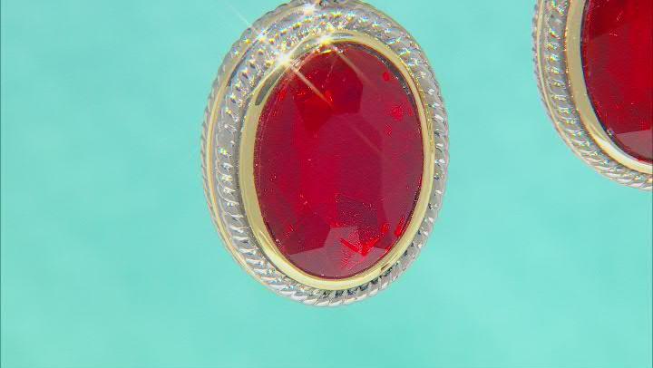 Two Tone Red Crystal Dangle Earrings
