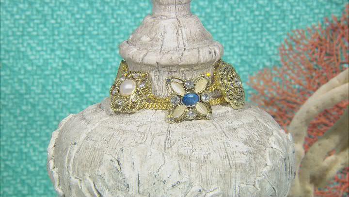 Gold Tone Multi Color Crystal Floral Slide Bracelet