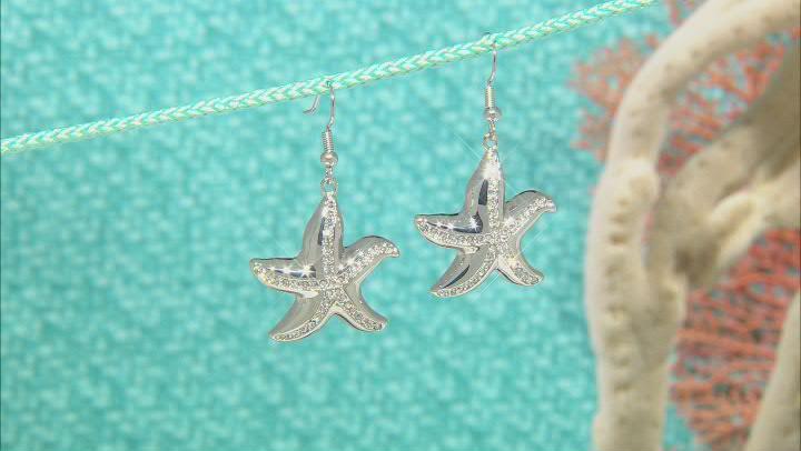 Silver Tone White Crystal Starfish Dangle Earrings