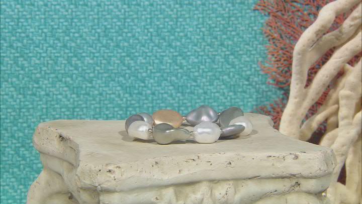 Silver Tone Multi Color Pearl Simulant Set of 3 Stretch Bracelets