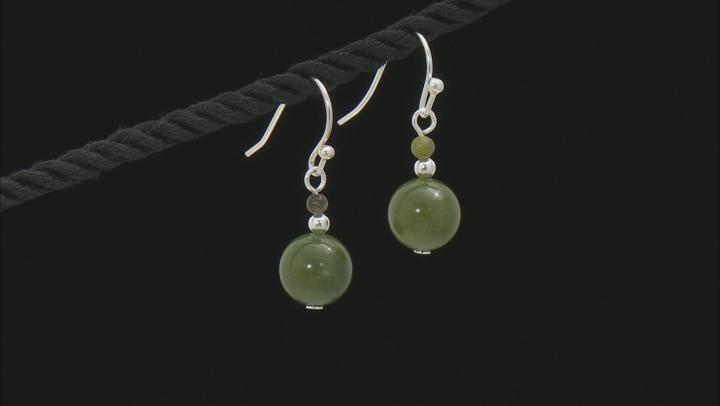 Round Connemara Marble Beads Sterling Silver Earrings